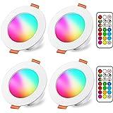 Spots LED Encastré 8W (équivalent 60W) Couleur RGB Changement Variation Coloré RGBW IP44 Blanc froid 5700K Rond Dimmable Enca