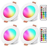 Spots LED Encastré 8W (équivalent 60W) Couleur RGB Changement Variation Coloré RGBW IP44 Blanc froid 5700K Rond Dimmable…
