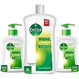 Dettol Original Liquid Hand Wash Refill Pack - Twin Pack 200ml + 1L Liquid Hand Wash