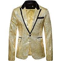 Frecoccialo Men's Jacket Sequins Slim Fit Blazer One Button Tuxedo Lightweight Long Sleeve Shiny Coats for Ceremony…
