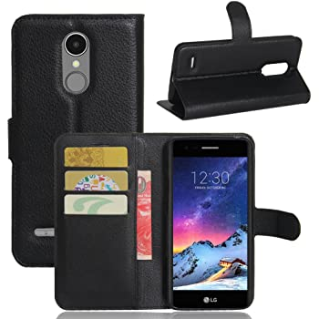Moozy case Flip cover for LG K8 2017, Black - Smart Magnetic Flip