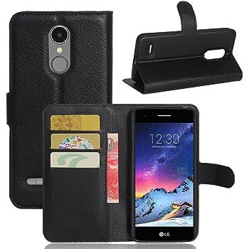 Moozy case Flip cover for LG K8 2017, Black - Smart Magnetic Flip