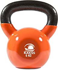 KAKSS Gymenist Kettlebell Fitness Iron Weights with Vinyl Coating Around The Bottom Half Metal 6 kg Kettle Bell (Made in India)