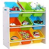 Homfa Kinder Aufbewahrungsregal Kinderregal Spielzeugregal Spielzeugkiste Kommode mit 9 Kunststoffkästen für Spielzeug und Bücher Multi Toy Organizer 65 * 26.5 * 60cm