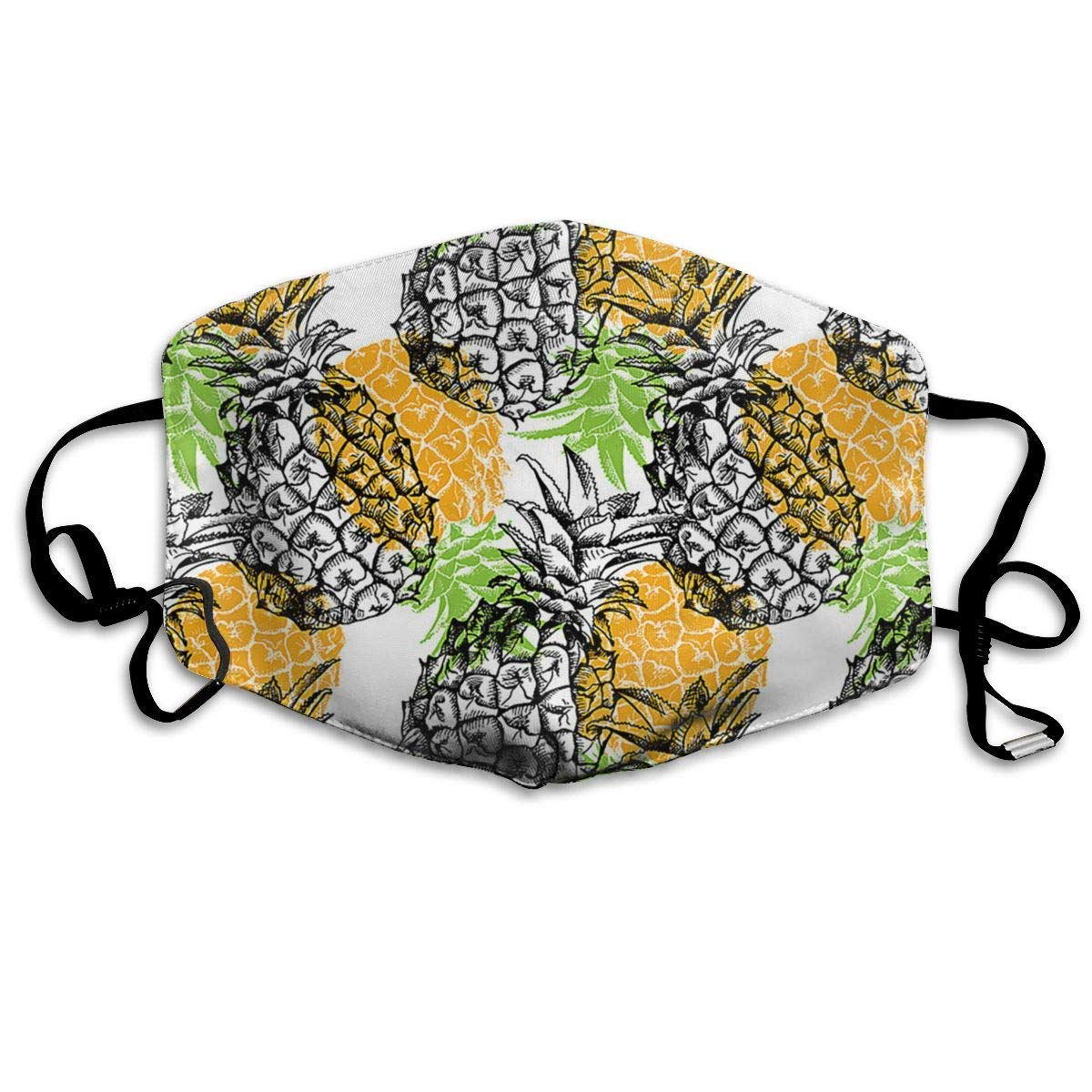 Daawqee Mascarillas, Yellow Pineapple Face Masks Breathable Dust Filter Masks Mouth Cover Masks with Elastic Ear Loop
