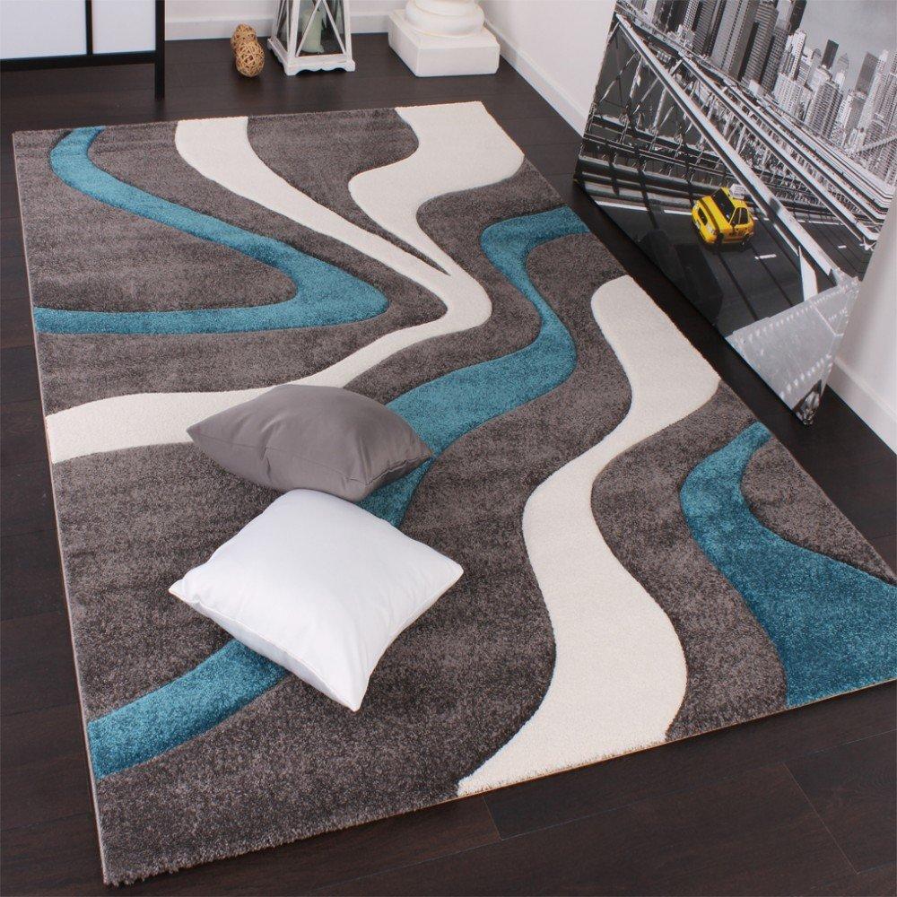 Teppich petrol  Designer Teppich mit Konturenschnitt Modern Grau Türkis Weiss ...