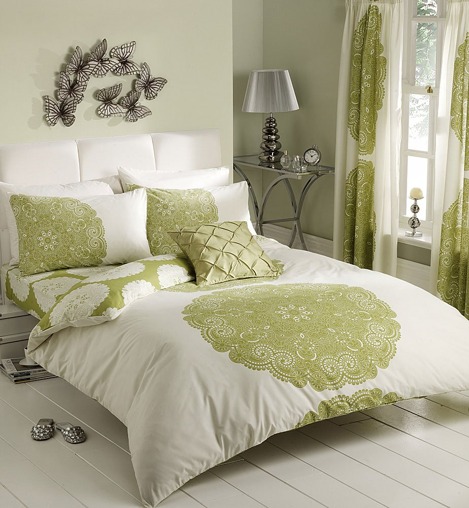 cream u0026 lime patterned printed duvet cover sets double amazoncouk kitchen u0026 home