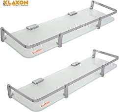 Klaxon Glass Glass Shelf Set (Silver, Pack of 2)