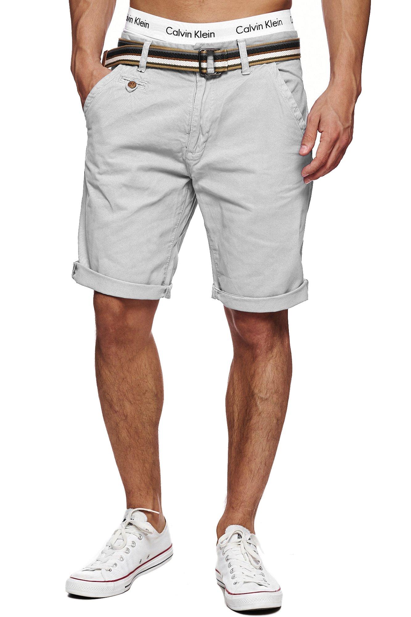 58a5e4b7f0c8 Indicode Herren Cuba Chino-Shorts Kurze Hose mit Gürtel aus 100% Baumwolle  Light Grey