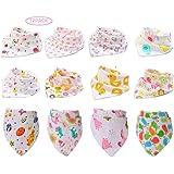 Fontee Baby Paquete de 12 bebé Bandana Baberos del pañuelo para Niñas Suave, cómodo, Lavable a máquina, muy absorbente Bandan