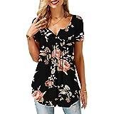 KISSMODA Ladies Shirts Ruffle Loose Button up Tunic Tops for Women
