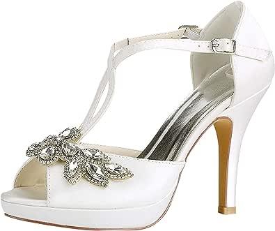 Emily Bridal Scarpe da Sposa Scarpe da Sposa Avorio Peep Toe Strass Criss Cross Scarpe da Sposa Sandali con Tacco Alto