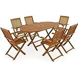 Deuba® Sitzgruppe Boston 6+1 | FSC®-zertifiziertes Akazienholz 7-TLG Tisch klappbar | Sitzgarnitur Holz Gartenmöbel Set