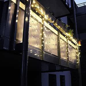 Balcony Railing Light Curtain 240 Leds 210 X 100 X 100 Cm Light Net Warm White Balcony Lighting Railing Fairy Lights Decoration Christmas Amazon De Lighting