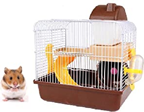 JAINSONS PET PRODUCTS Playhouse/Cage for Hamster/Gerbil/Mice with Spare Floor, Exercise Wheel, Water Bottle, Hide House and Food Tray (Brown)