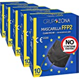 50 uds. Mascarillas Negras FFP2 NR homologadas CE 0598, filtrado de 5 capas - GrupoZona - Mascarilla protección negra - Envío