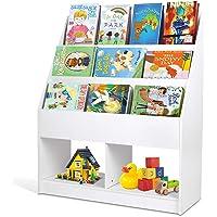 amzdeal Bibliothèque pour Enfants, Étagère à 3 Niveaux, Étagère à Livres Autoportante avec Présentoirs et Rangement pour…