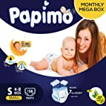 Papimo Diapers Pants with Aloe Vera Monthly Box Pack, Small (156 Count)