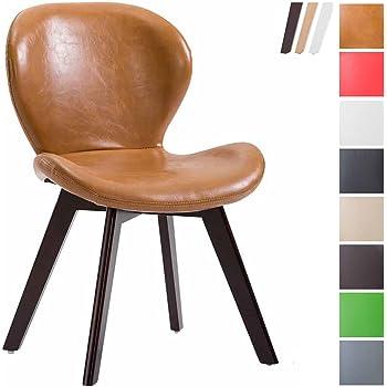 CLP Chaise de Salle à Manger Fitz - Chaise Retro Design Confortable  Rembourré avec Un Revêtement en Similicuir - Piétement en Bois de Hêtre -  Couleurs au ... a9d95ffec2f4