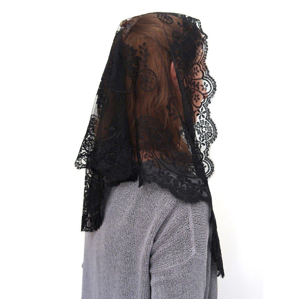ANGELYK corsets habillés – Mantilla, Robó Triángulo Negro Verdadero Encaje de Raso de 60 x 80 x 120cm Católica