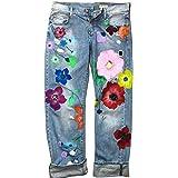 Yulinge Mujeres Casual Jeans Florales de Cintura Alta Pantalones Rectos Ocasionales de Mezclilla