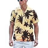 iCosam Men's Hawaiian Style Shirts Regular Fit Classic Short Sleeve Beach Party Shirt Casual Floral Top