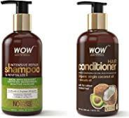 WOW Intensive Repair & Revitalize No Parabens, Sulphate & Silicone Shampoo, 300mL and WOW Coconut & Avocado Oil No Parabens &