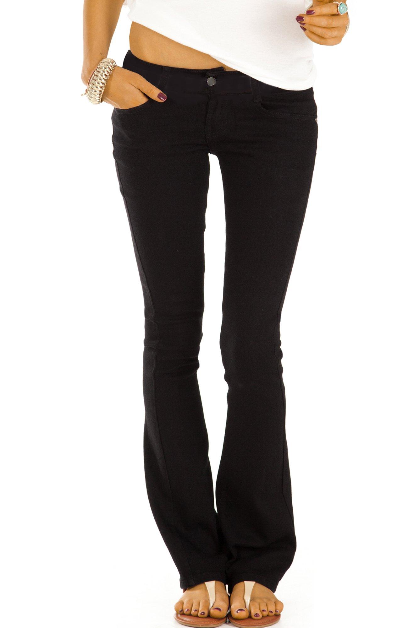 bestyledberlin Damen Bootcut Schlaghose Jeans schwarz