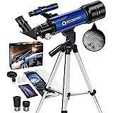 Telescopio Astronómico, HD Telescopio de refracción de 70mm con 2 oculares (K25mm&K10mm), Ajustable Trípode, Fácil de Montar,