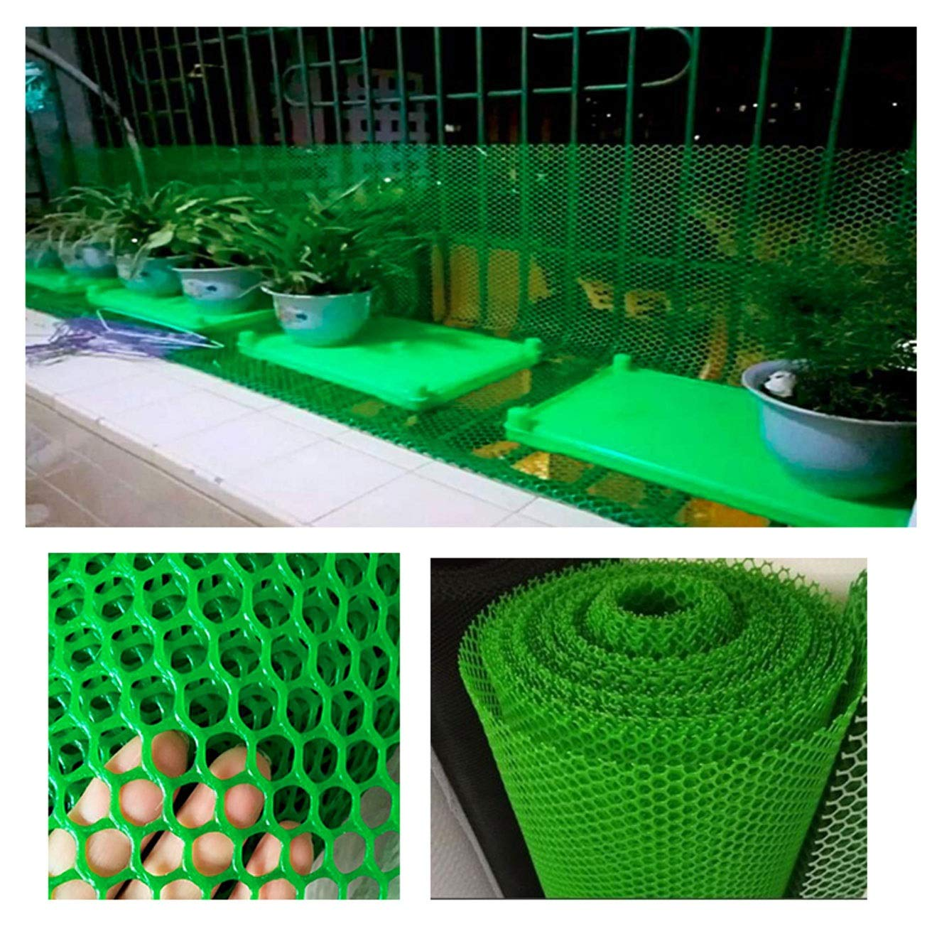 Grass Protection Mesh for Lawn or Car Park Reinforcement Green Plastic Child Safety Net Balcony Protection Net Stairs Anti-fall Net 10m 20m 30m 50m (Size : 2 * 50m) NNFHW ♦ Plastic safety mesh with a diameter of 1.8cm prevents children's head and body from falling through the railing and prevents toys and shoes from falling from the gap between the armrests. It can even be used as a pet safety door. Provide a safe gaming environment for children. ♦ Lawn protective grilles are used to reinforce large areas of flat surfaces, especially parks and lawn areas, slopes and embankments. The turf grid increases the load-bearing capacity of the soil. Effectively prevents the formation of ruts. Suitable for short-term parking, driveways, etc. ♦ Plastic flat net waterproof, wear-resistant, tough, light weight, long service life, non-toxic and tasteless, high transparency. Ideal for interior and exterior of residential buildings such as railings, stairs, cots, hallways, balconies, etc. The honeycomb design does not interfere with your view. 1