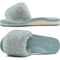 KuaiLu Womens Fluffy Faux Fur Sliders Slippers Open Toe Fuzzy Plush Cosy House Slippers Ladies with Arch Support Non…