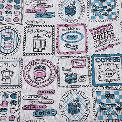 Tissu de coton Retro de lin Cofee pour tapisser chaises descalzadoras pour travaux manuels, Couture Coussins Guirlandes caravanes vitrine Rideau 1 m x 50 cm. De Open Buy