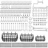 Abimars 190 STKS Pegboard Rekken Set Pegboard Haken Accessoires met 3 Pegboard Manden, Peg Locks, voor het organiseren van ve