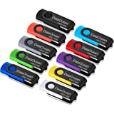 10 Piezas DataOcean 16GB Memorias USB PenDrives Giratoria Pen Drive 16 GB Unidad Flash USB 2.0(10 Colores Mezclados)