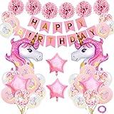 SPECOOL Einhorn Geburtstagsdeko Mädchen,Rosa Happy Birthday Banner Set mit Einhorn Folienballon Latex Konfetti Luftballons Partydekoration für Mädchen Freundin Frauen