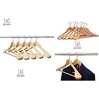Shiv Kraft Wooden Wide Shoulders and Round Bar Coat Rack Hanger (4)