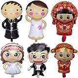 Biluer Palloncini da Matrimonio, 6PCS Decorazione per Matrimoni Palloncini in Sposa e Sposi Coppia Pallone per Eventi Sportiv