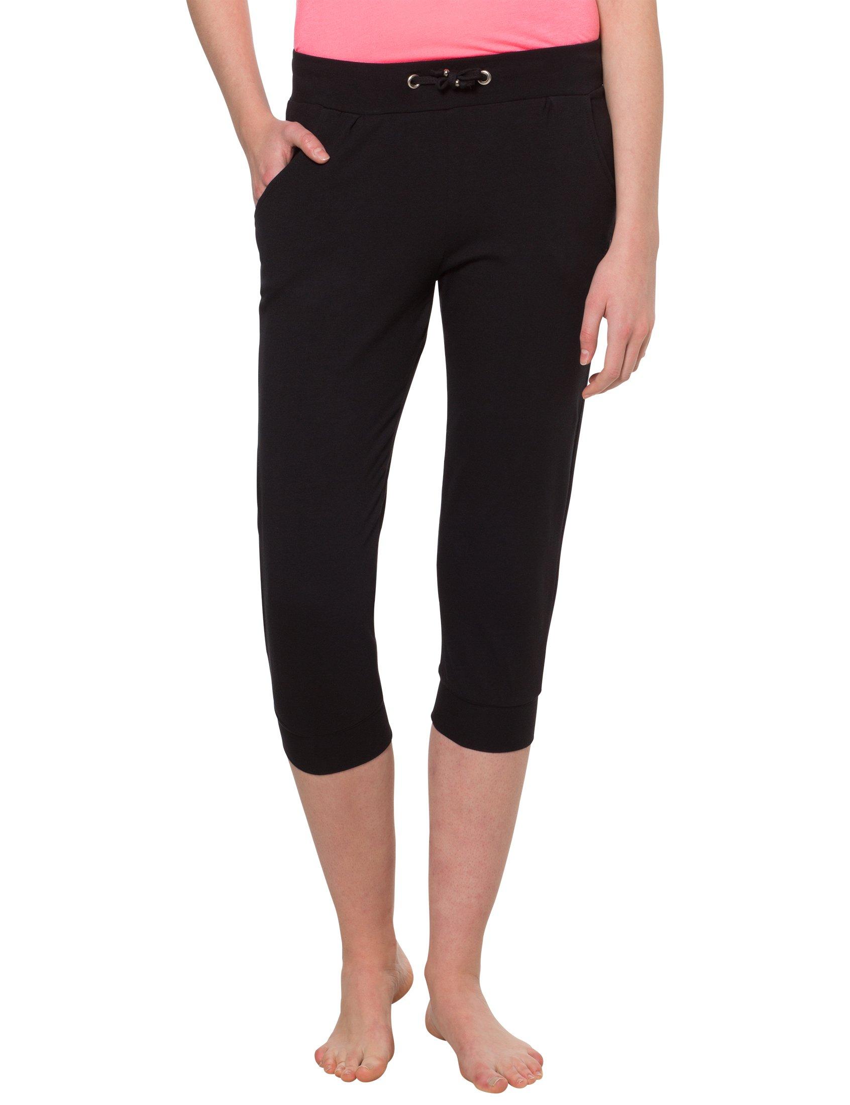 Ultrasport Pantalón Pirata de Mujer Vitalize – Leggings 3/4 con Cierre de Cordón – Mallas de Deporte Elásticas – Pantalón de Deporte Corto, Negro