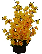 Sofix Beautiful Artificial Flower Pot Peach Blossom Flower Bunch Pot for Home Decor Hotel Decor Office Decor on Amazon
