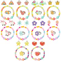 Hifot Clip Orecchini anellini Braccialetti Bambina 30 Pezzi, Unicorno Sirena La Farfalla Fiori Arcobaleno Princess…