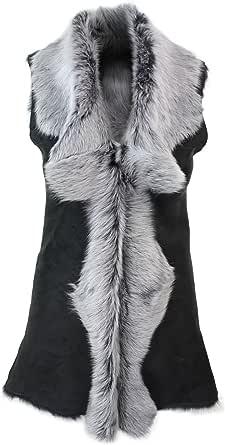 Gilet Lungo da Donna in Vera Pelle Grigia e Pelo di Montone Shearling Toscana nero-grigio