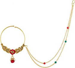 The Luxor Traditional Gold Plated Nose Ring Nathiya With Long Chain For Girls And Women