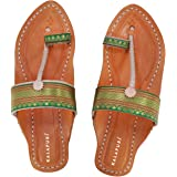 KALAPURI Ladies Kolhapuri Chappal in Genuine Leather with Black Pointed Shape Base and Traditional Green Paithani Lace Upper.