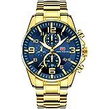MINI FOCUS ساعات رجالية فاخرة ذهبية اللون ساعة (متعددة الوظائف/ مقاومة للماء/مضيئة / تقويم) ساعة عصرية للرجال بسوار من الفولا