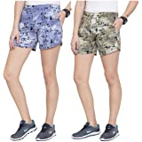 UZARUS Women's Cotton Sleep Beach Printed Shorts - Pack of 2