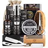 UPGRADED Beard Kit for Men Dad Beard Growth Grooming & Trimming - Unscented Leave-in Conditioner Oil, Shampoo Wash, Mustache