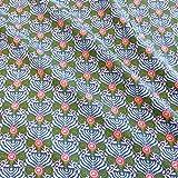 Stoff Baumwolle Meterware Ornamente Fächer blau weiß