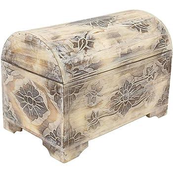 Blumen Truhe Dekotruhe Dekokiste Box Kiste Weiß Shabby Chic Landhausstil 62 cm