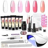 Shelloloh 6st poly Extension gel nail kit, Acrylic Nails Set 6pcs met 36W UV/LED Nagel Lamp Gel Nagels Starter handgel