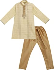 JTN Fashions Boys Ethnic Wear Embroidered Silk Kurta Pyjama Set